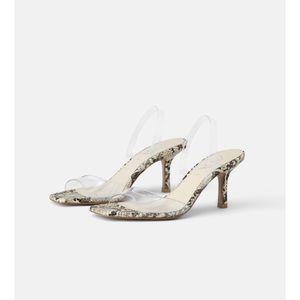 Zara Vinyl and Animal Print Heeled Sandals